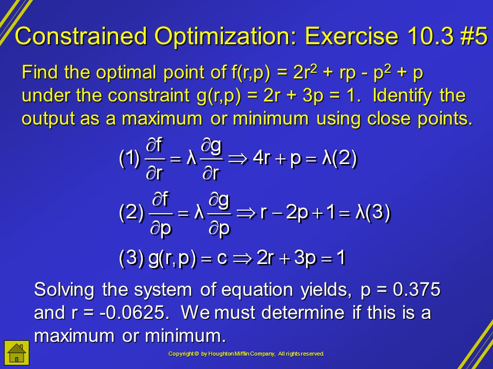 Constrained Optimization: Exercise 10.3 #5