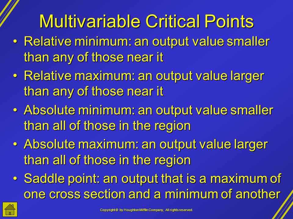 Multivariable Critical Points