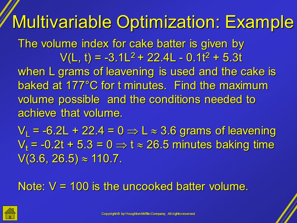 Multivariable Optimization: Example