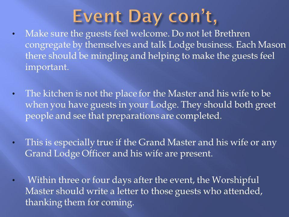 Event Day con't,
