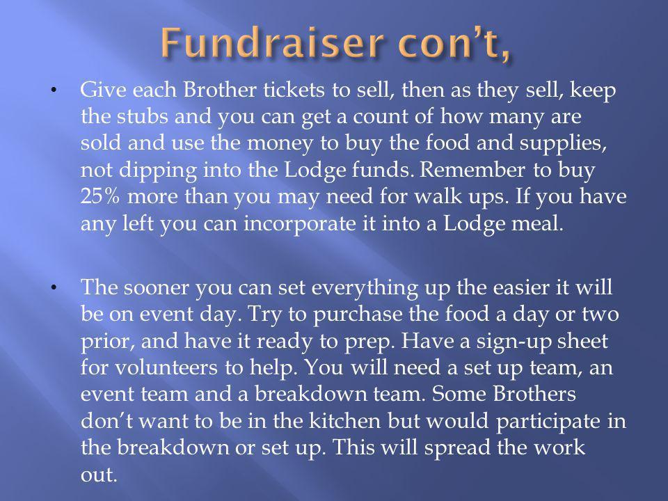Fundraiser con't,