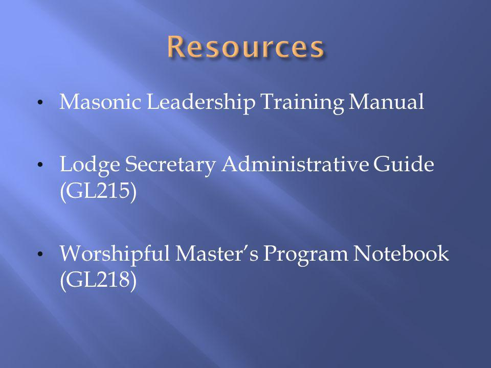 Resources Masonic Leadership Training Manual