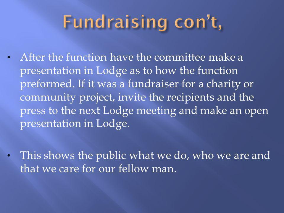 Fundraising con't,