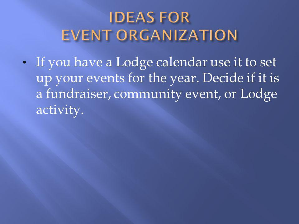 Ideas for Event Organization