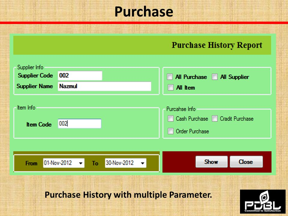 Purchase History with multiple Parameter.
