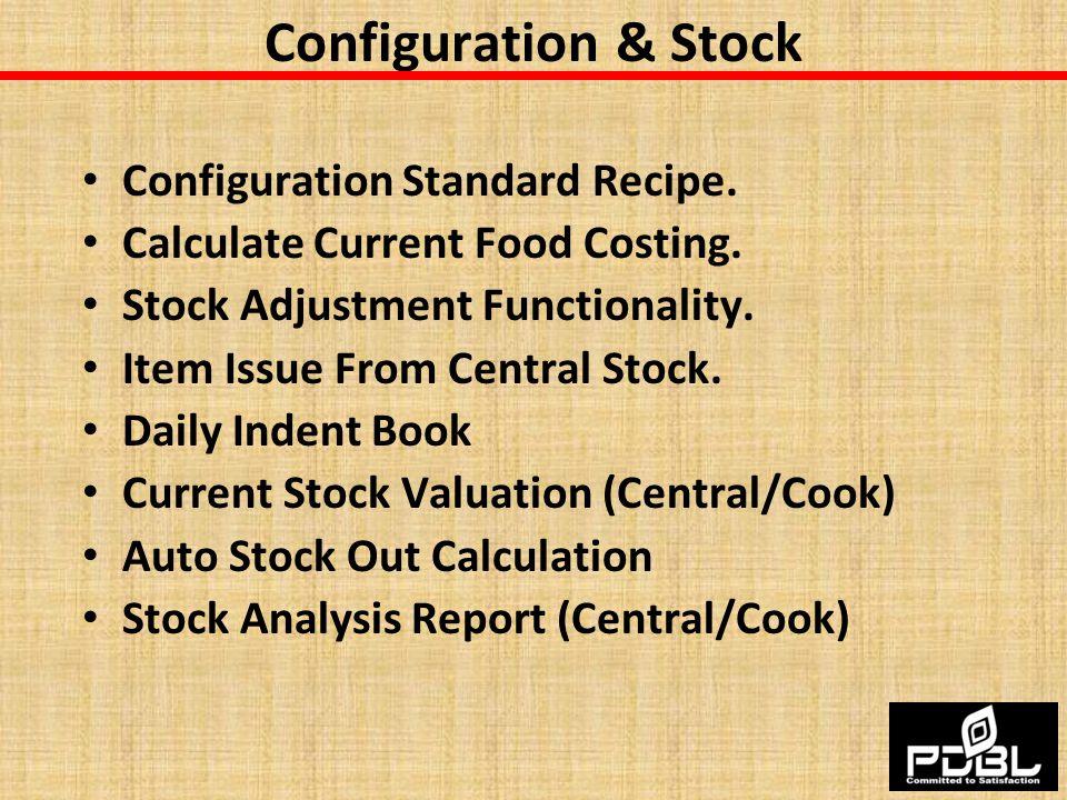 Configuration & Stock Configuration Standard Recipe.