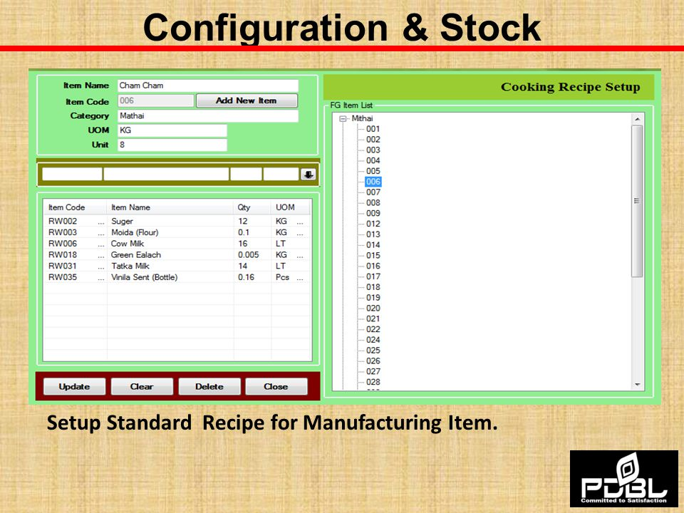Configuration & Stock Setup Standard Recipe for Manufacturing Item.