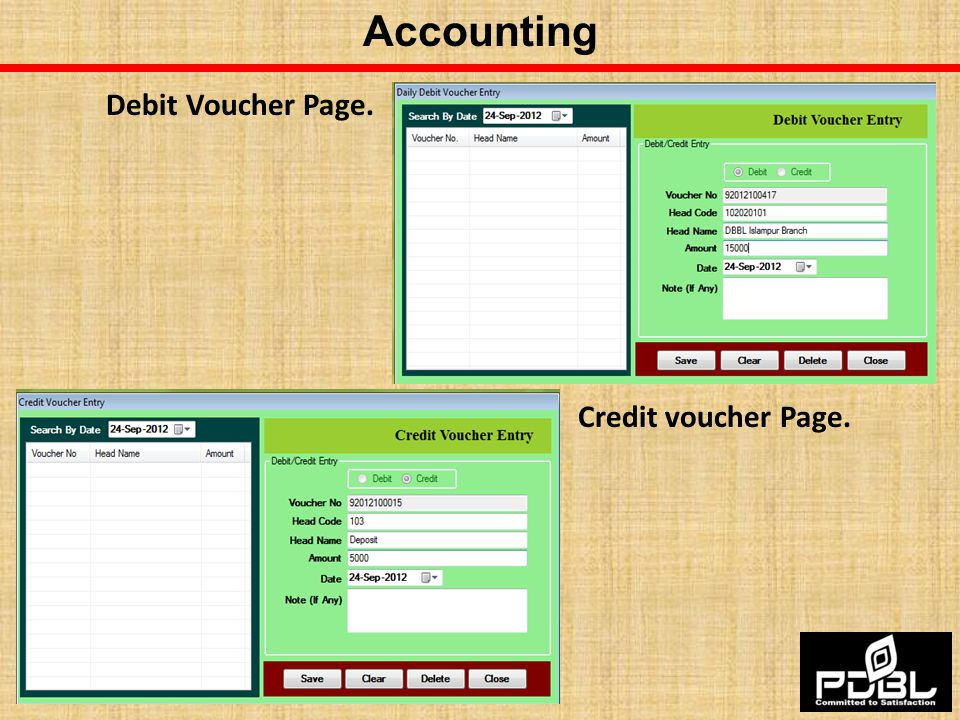 Accounting Debit Voucher Page. Credit voucher Page.