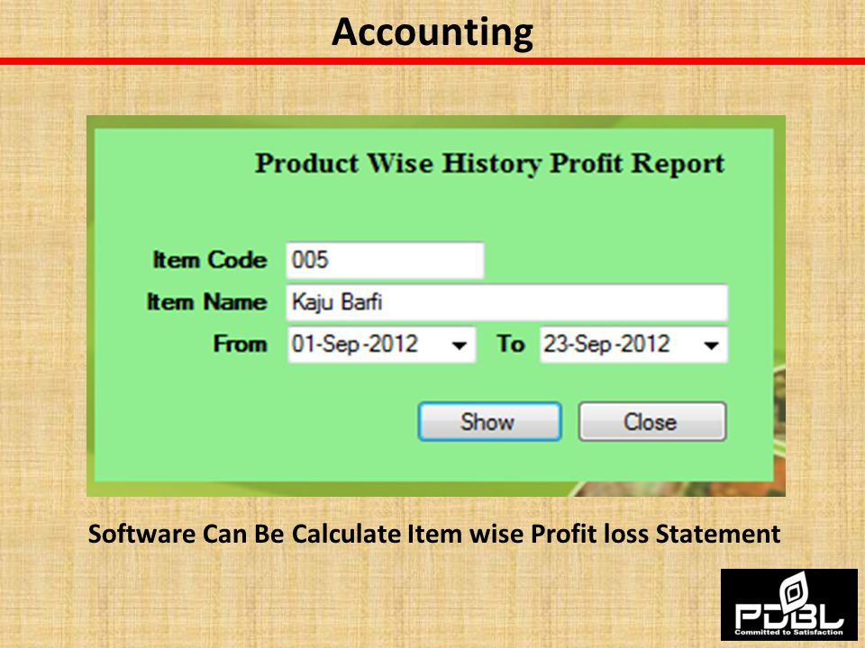 Accounting Software Can Be Calculate Item wise Profit loss Statement