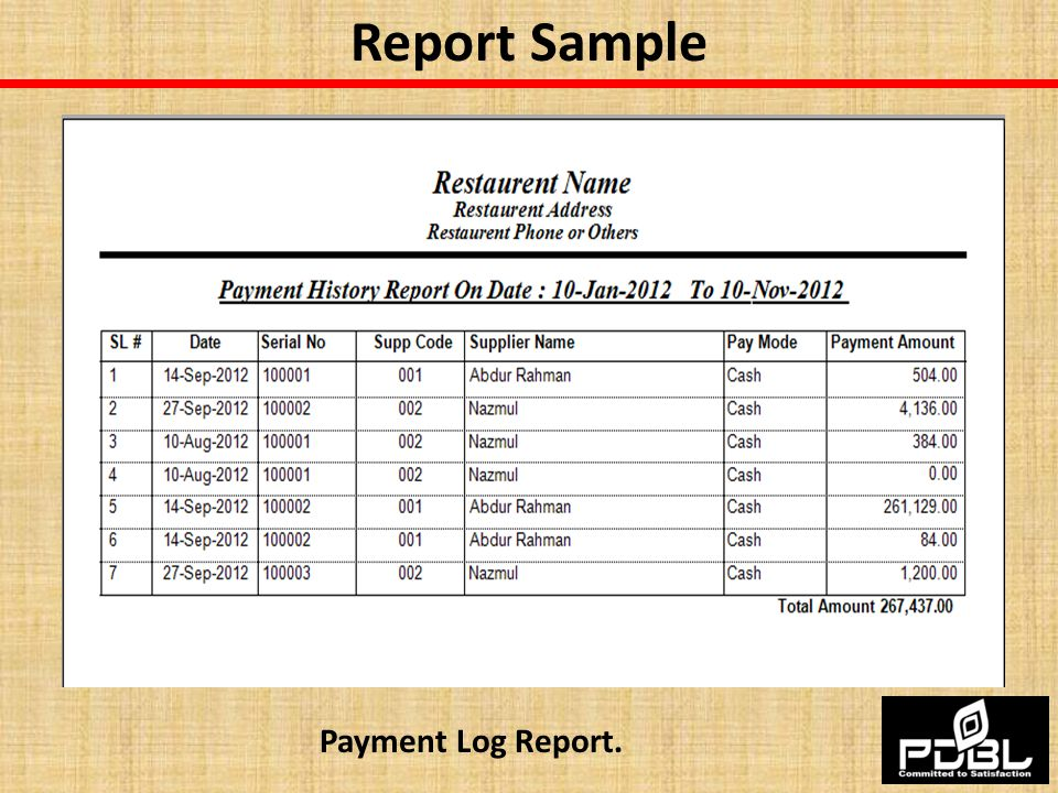 Report Sample Payment Log Report.