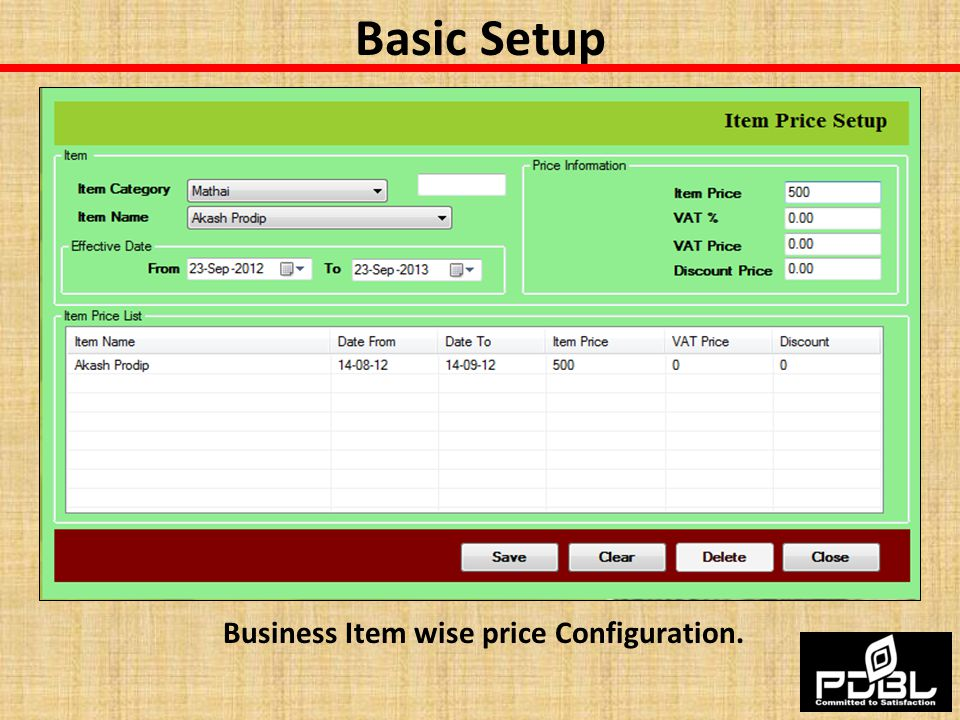 Business Item wise price Configuration.