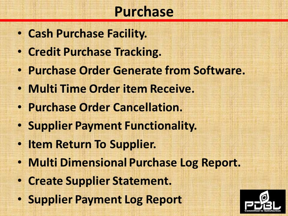 Purchase Cash Purchase Facility. Credit Purchase Tracking.