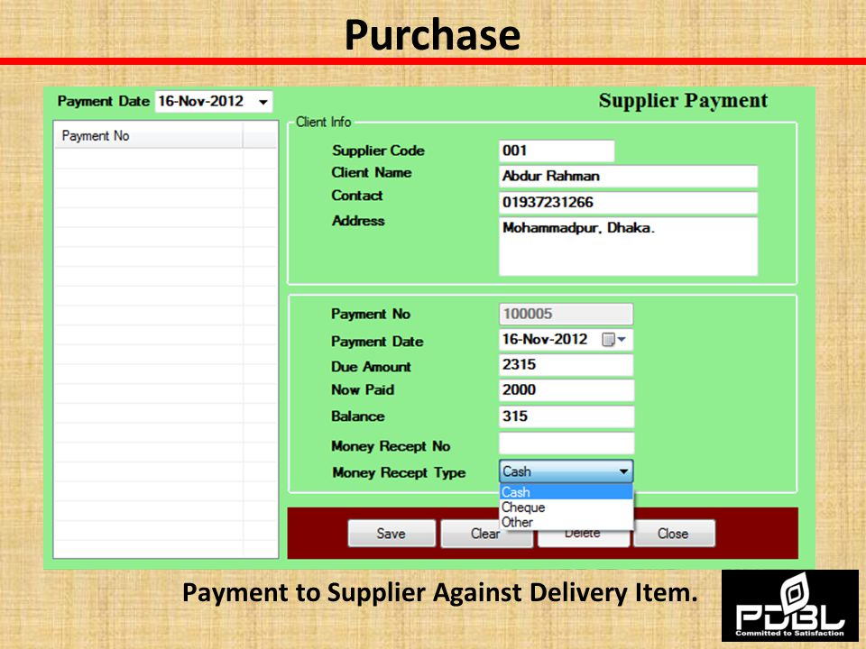 Payment to Supplier Against Delivery Item.