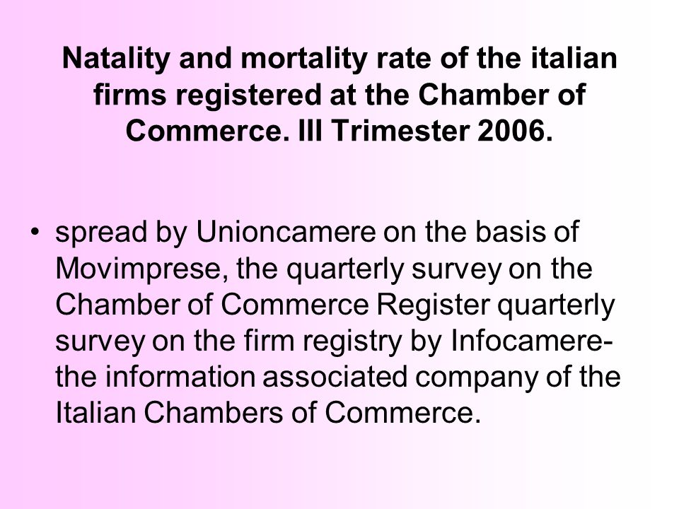 Natality and mortality rate of the italian firms registered at the Chamber of Commerce. III Trimester 2006.