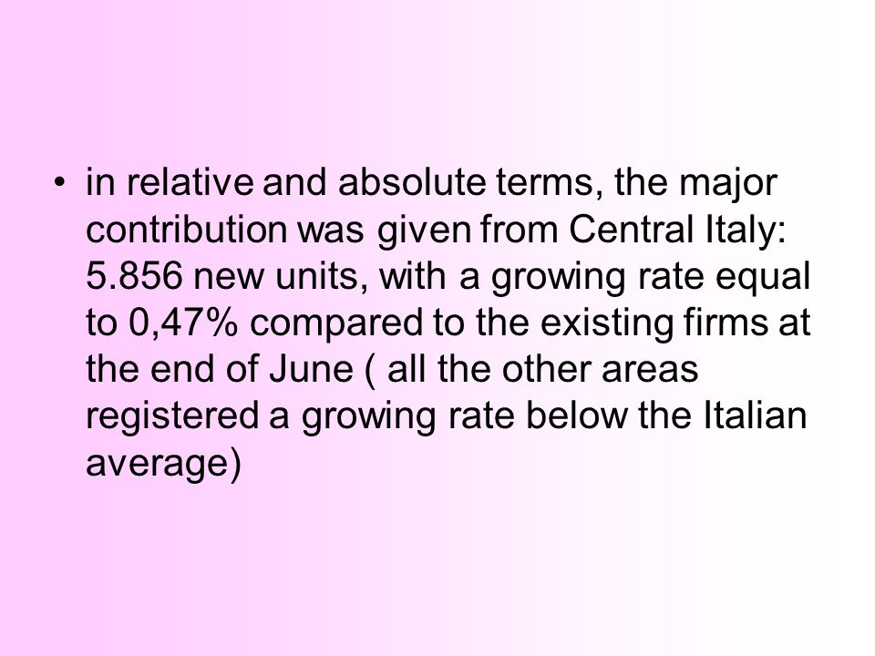 in relative and absolute terms, the major contribution was given from Central Italy: new units, with a growing rate equal to 0,47% compared to the existing firms at the end of June ( all the other areas registered a growing rate below the Italian average)