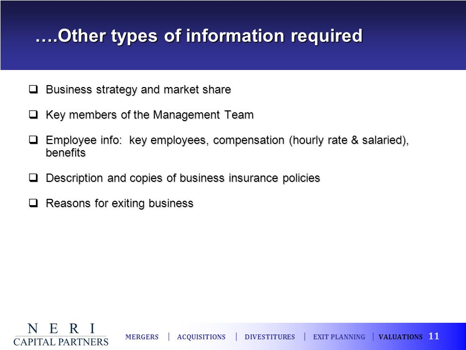 ….Other types of information required