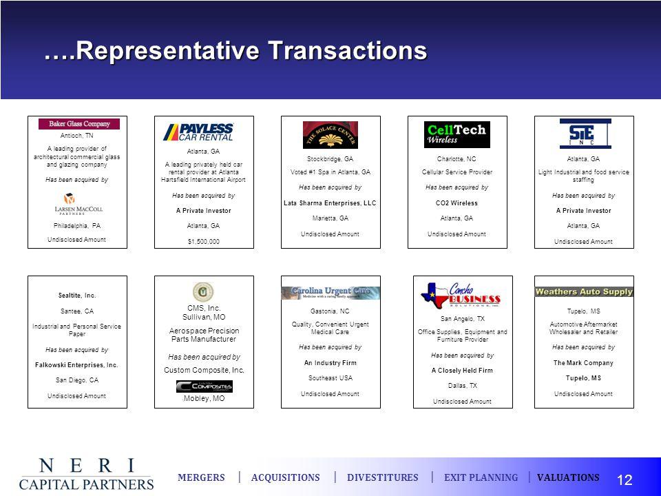 ….Representative Transactions