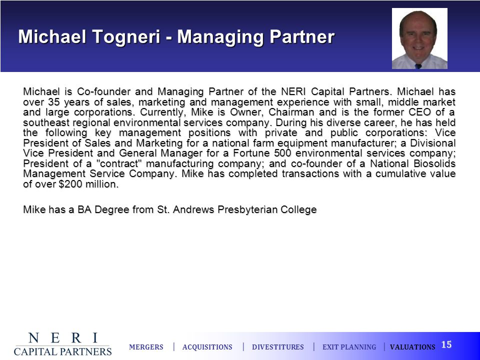 Michael Togneri - Managing Partner