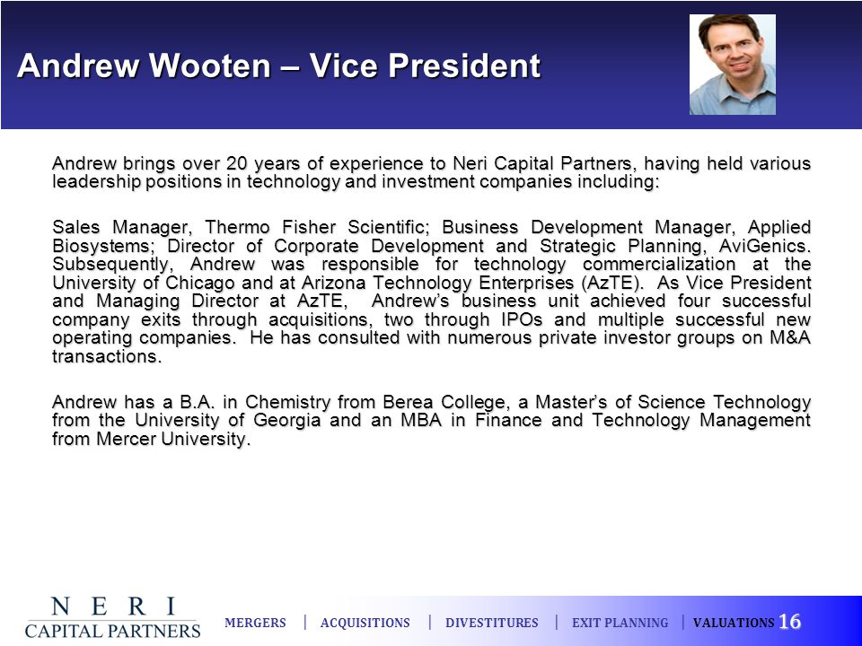 Andrew Wooten – Vice President
