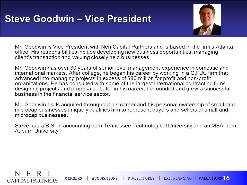Steve Goodwin – Vice President