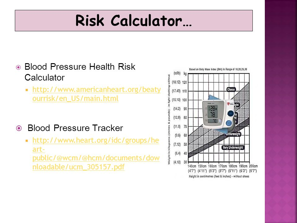 Risk Calculator… Blood Pressure Tracker