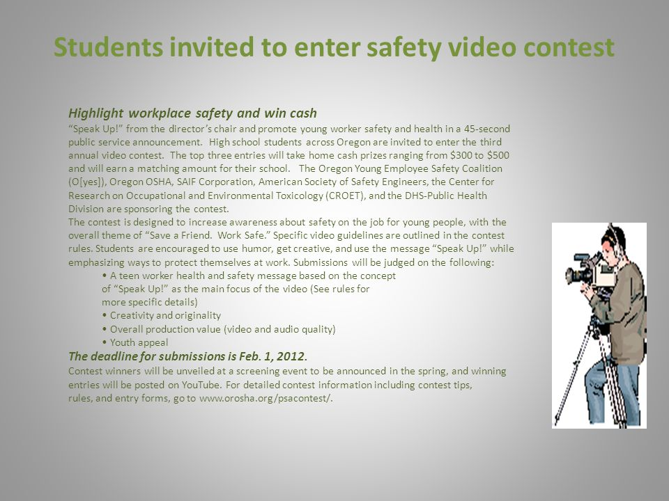 Students invited to enter safety video contest