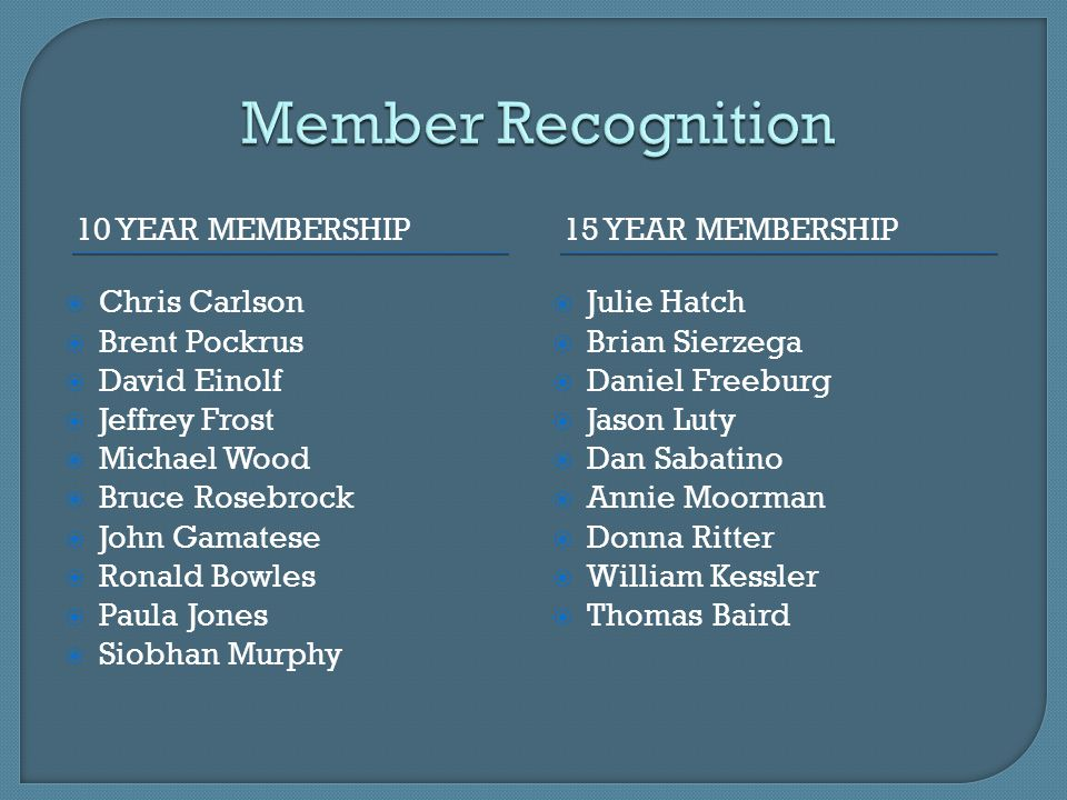Member Recognition 10 year membership 15 Year membership Chris Carlson