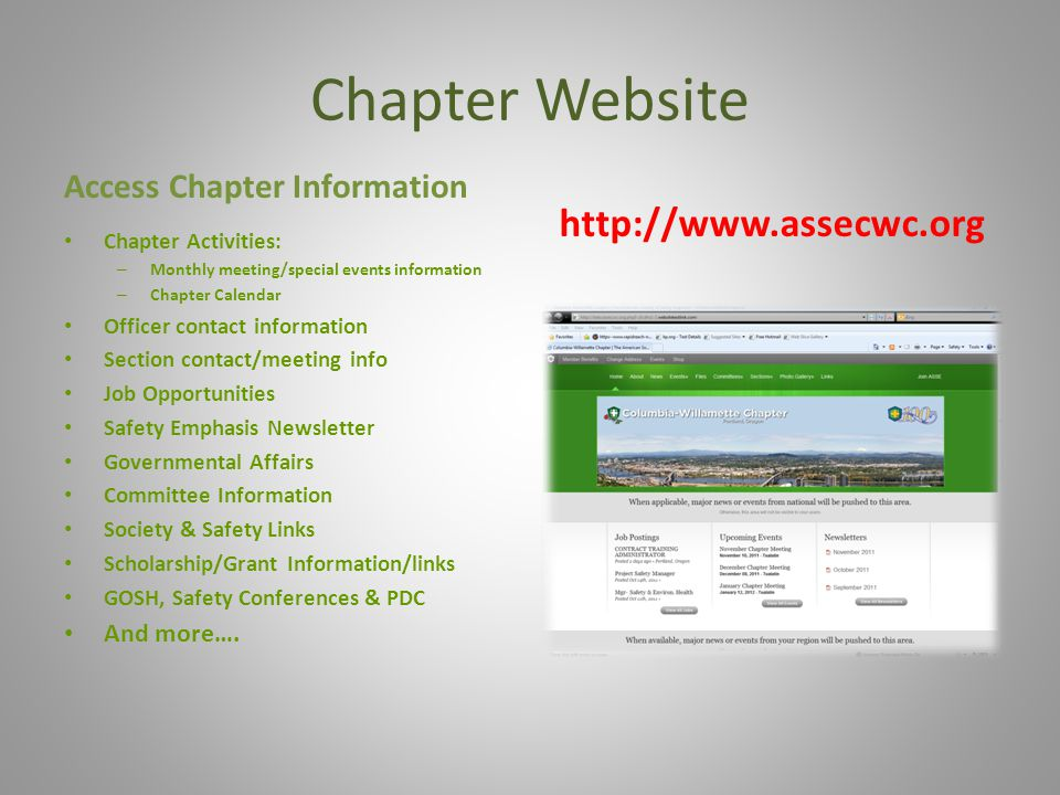 Chapter Website http://www.assecwc.org Access Chapter Information
