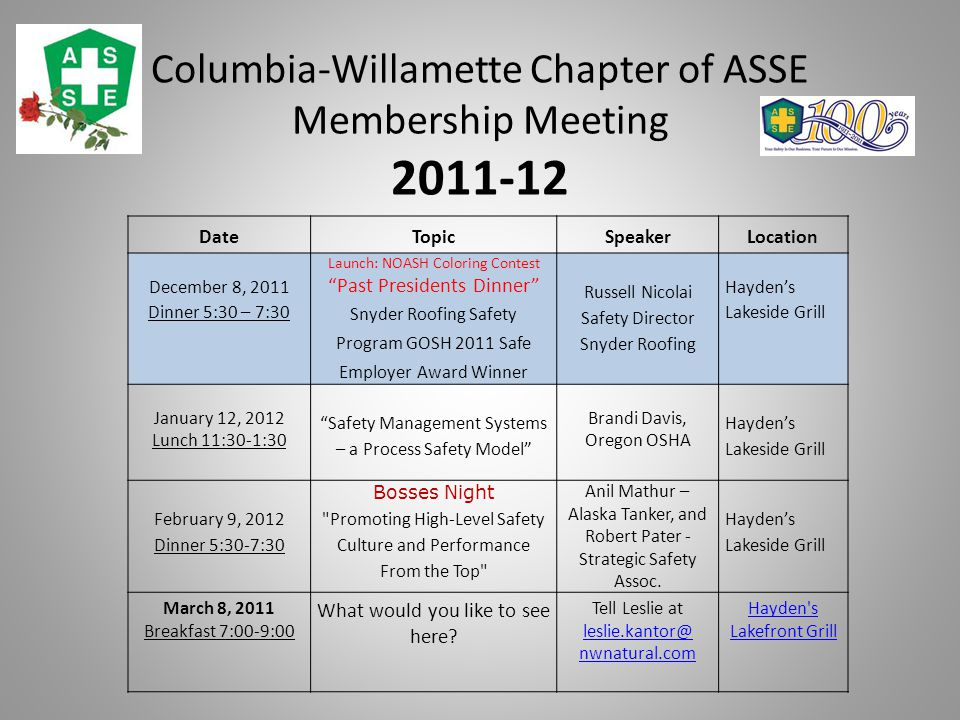 Columbia-Willamette Chapter of ASSE Membership Meeting 2011-12