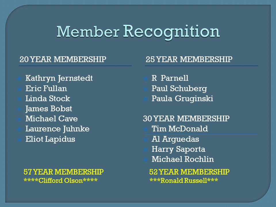 Member Recognition 20 year membership 25 year membership