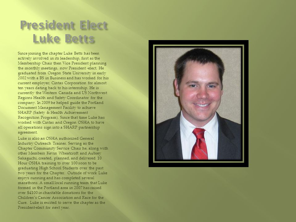 President Elect Luke Betts