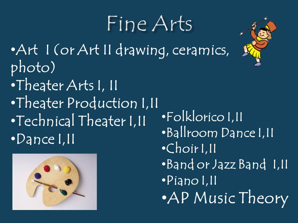 Fine Arts AP Music Theory Art I (or Art II drawing, ceramics, photo)
