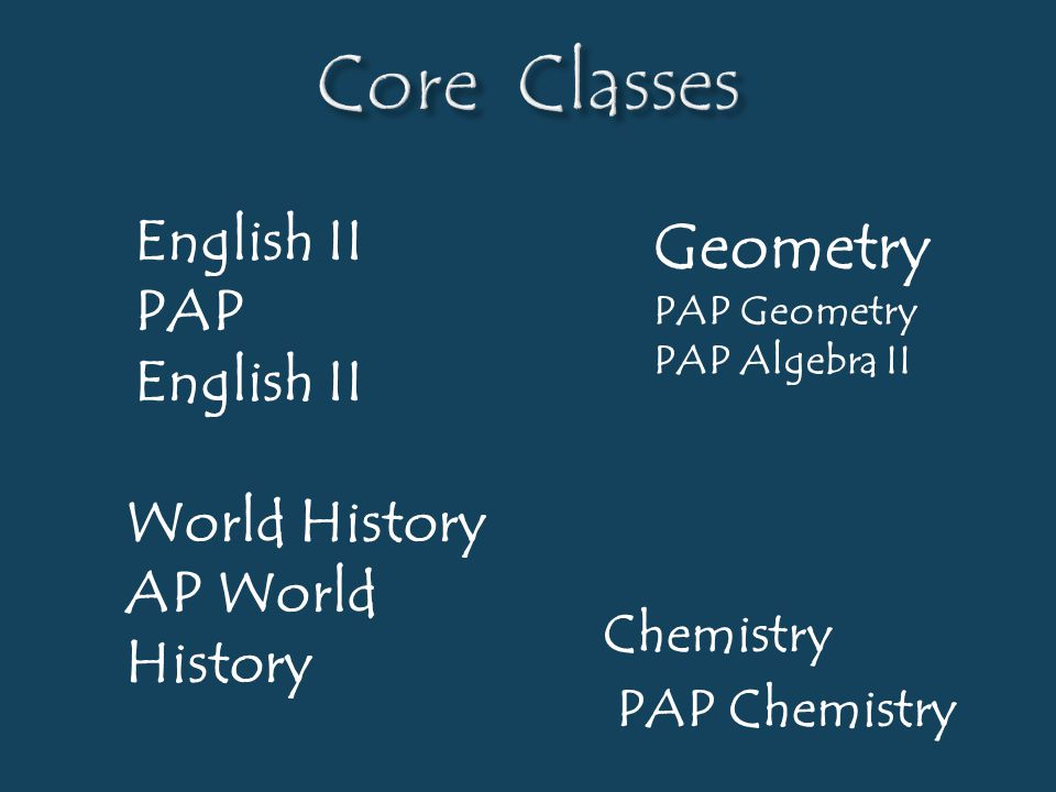Core Classes Geometry English II PAP English II World History