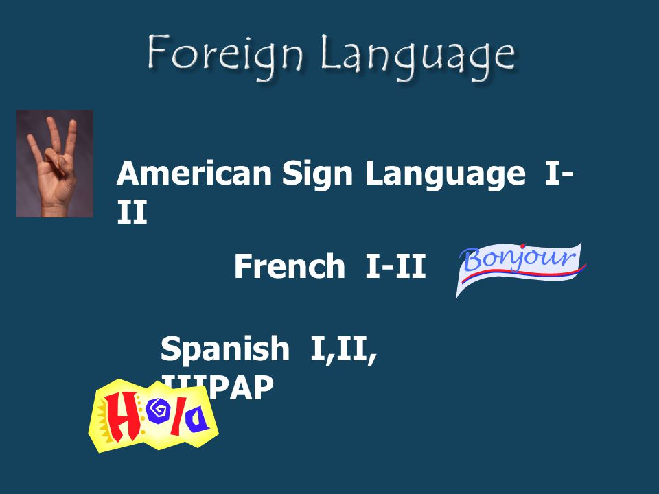 Foreign Language American Sign Language I-II French I-II