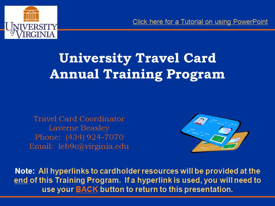 University Travel Card Annual Training Program
