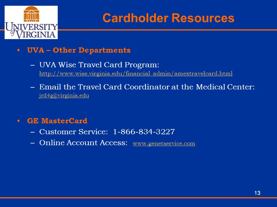 Cardholder Resources UVA – Other Departments