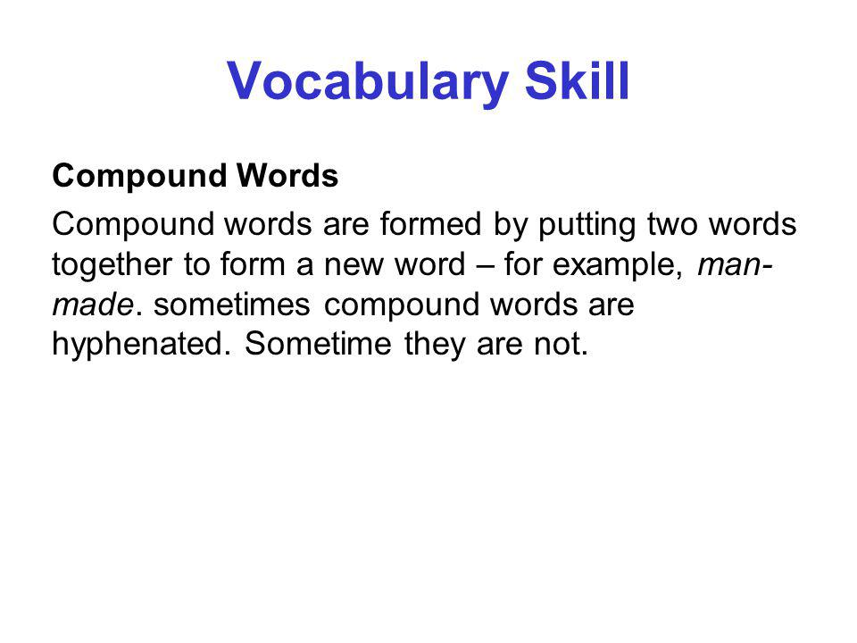 Vocabulary Skill Compound Words