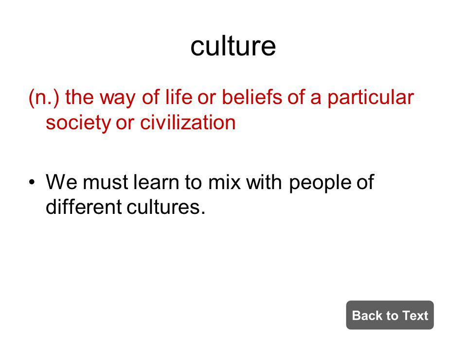 culture (n.) the way of life or beliefs of a particular society or civilization.