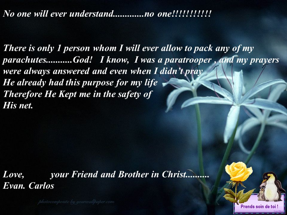 No one will ever understand.............no one!!!!!!!!!!!