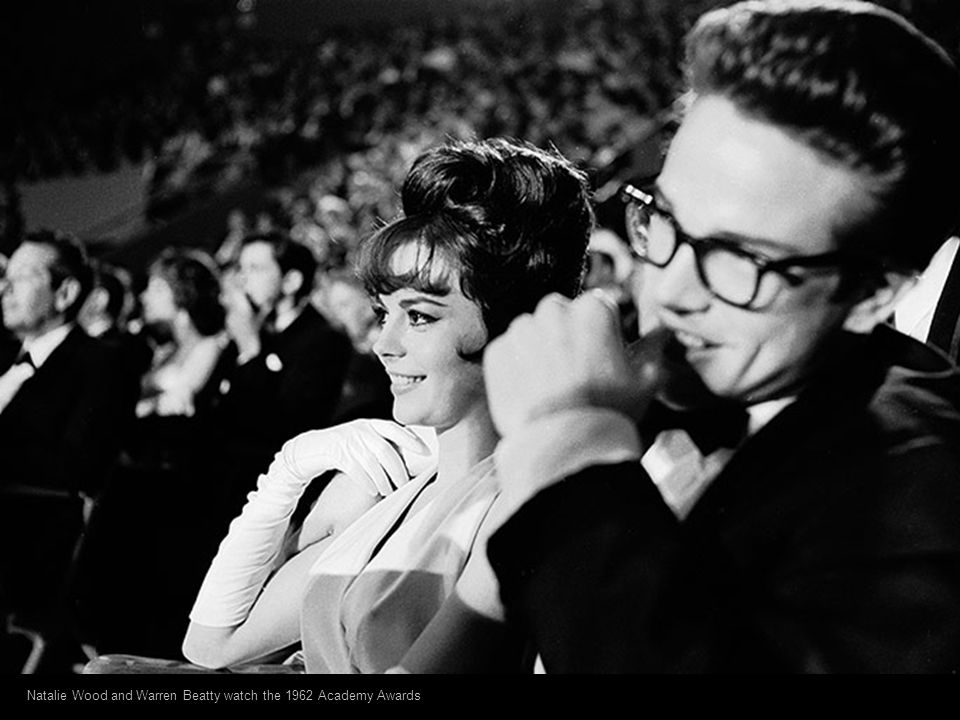 Natalie Wood and Warren Beatty watch the 1962 Academy Awards