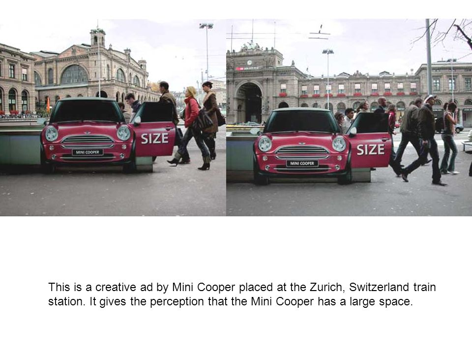 This is a creative ad by Mini Cooper placed at the Zurich, Switzerland train station.