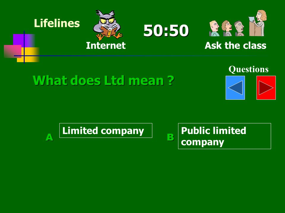 50:50 What does Ltd mean Lifelines Internet Ask the class Questions