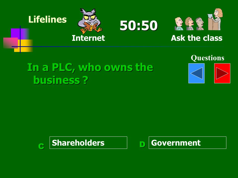 50:50 In a PLC, who owns the business Lifelines Internet