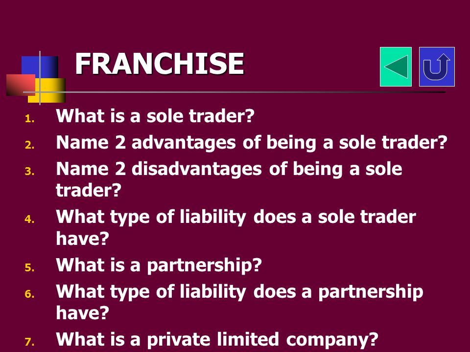 FRANCHISE What is a sole trader