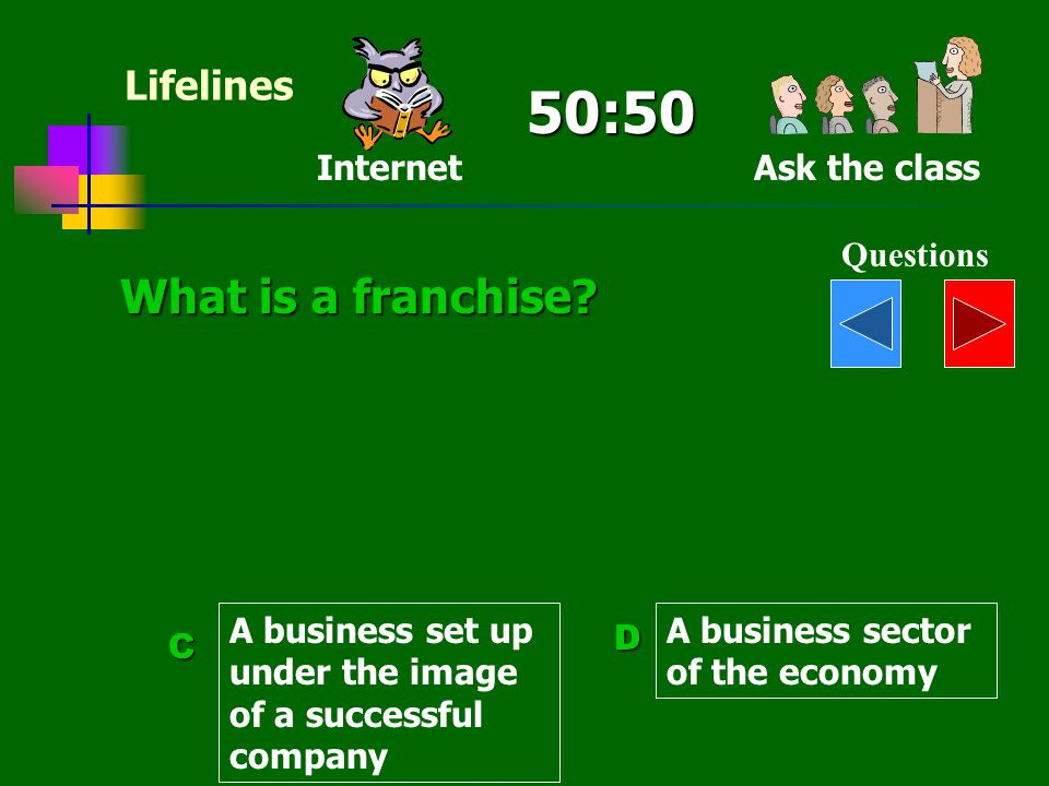 50:50 What is a franchise Lifelines Internet Ask the class Questions