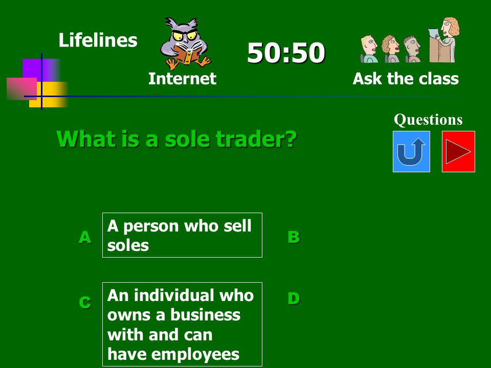 50:50 What is a sole trader Lifelines Internet Ask the class
