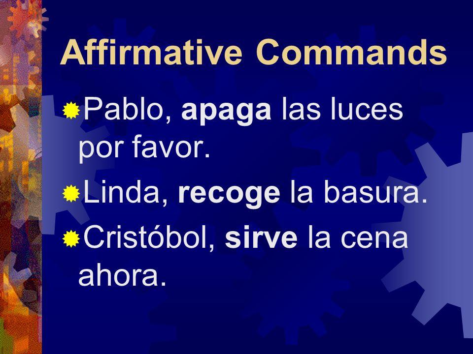 Affirmative Commands Pablo, apaga las luces por favor.