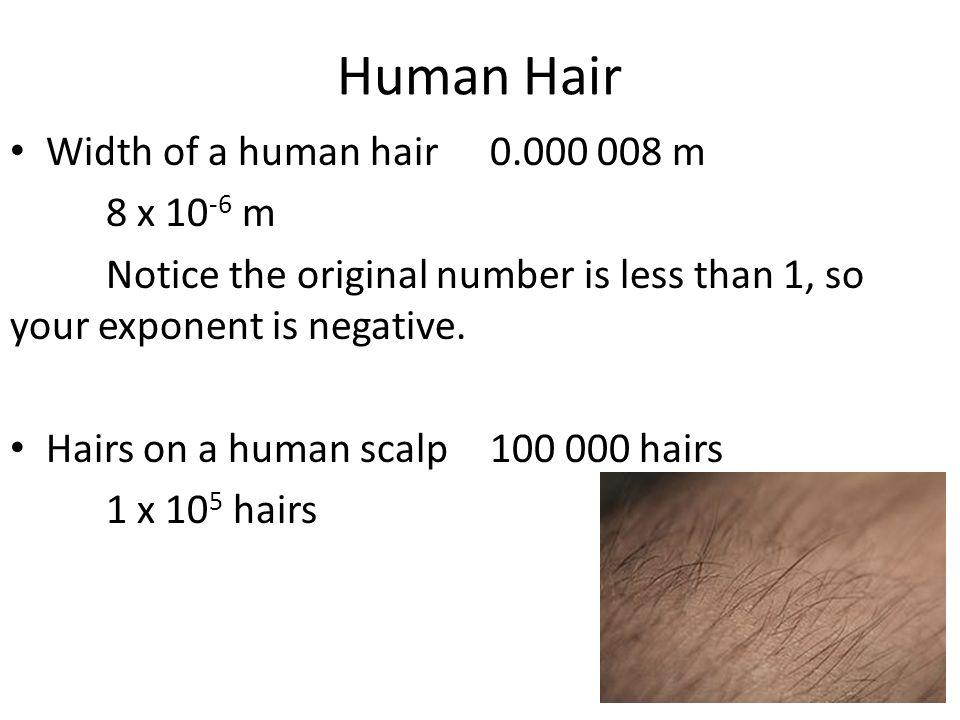 Human Hair Width of a human hair 0.000 008 m 8 x 10-6 m