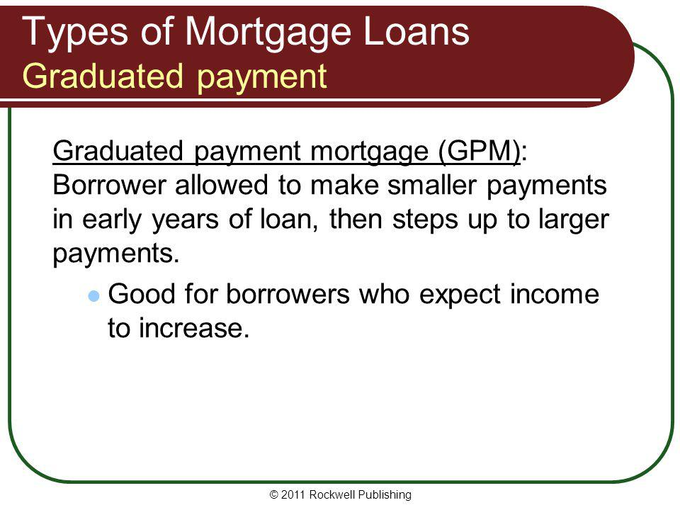 Types of Mortgage Loans Graduated payment