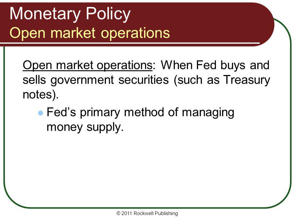 Monetary Policy Open market operations
